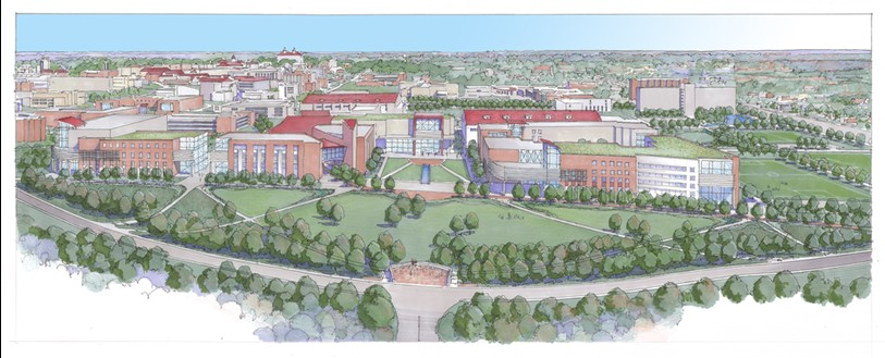 View of the Central District | University of Kansas | The rendering depicts the importance of place-making within the new district. Planning efforts balance new facilities with connected open spaces that will extend KU's unique campus fabric both aesthetically and functionally.