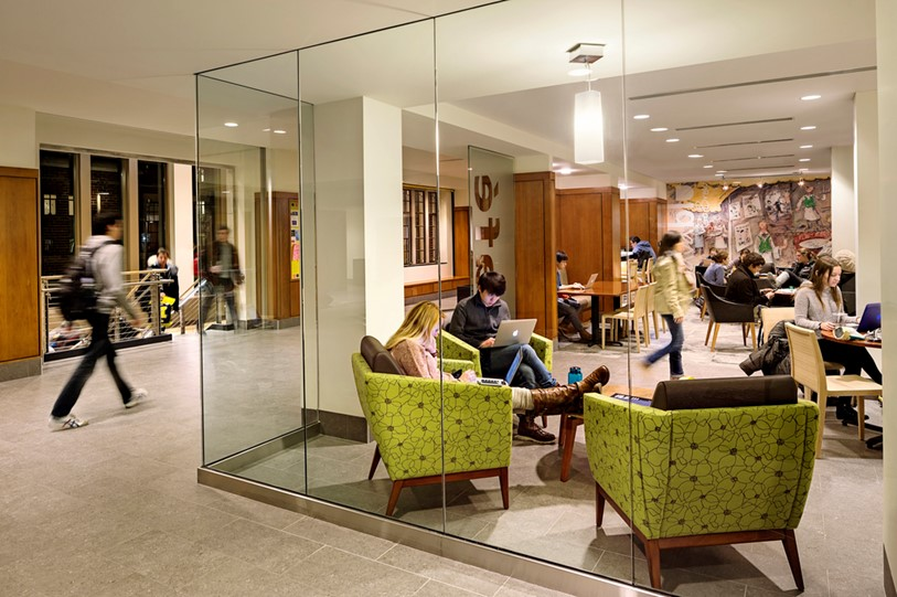 At the University of Michigan East Quad Cafe, glass enables 'seeing and being seen' and sets the stage for planned and serendipitous interaction.
