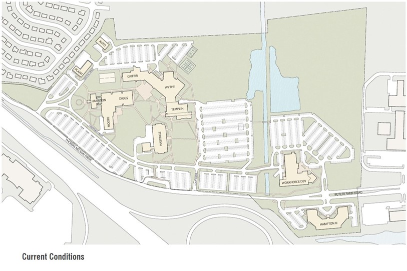 The existing campus plan at Thomas Nelson Community College